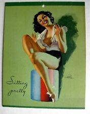 1940s Earl Moran Pin Up Girl Picture Brunette Sitting Pretty Small 5 x 6 inches