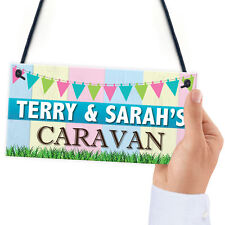 Personalised Caravan Campervan Family Friend Gift Hanging Plaque Home Door Sign