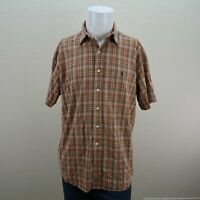 Ralph Lauren Blake Brown Orange Short Sleeve Button Front Plaid Shirt Mens Large