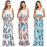 Pregnancy Maternity Women's Floral Sleeveless Long Maxi Dress Pleated Ball Gowns