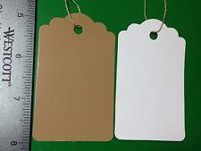 200 LARGE Scallop KRAFT Print  Paper Merchandise Price Tags STRUNG Brown