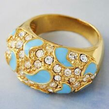 Womens Gold Plated Clear crystal Blue Enamel   Stainless Steel Band Ring Size 9