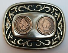 Indian Head Pennies Belt Buckle; 1897 and 1907 Indian Head Cent Imbedded Used