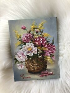 """Vintage Floral Oil Painting Signed Canvas Still Life Bouquet Midcentury 8"""" x 6"""""""
