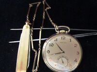 14 Kt Gold HAMILTON Pocket Watch With a10KT gold Chain & Knife