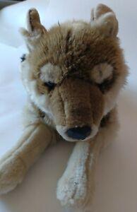 "2007 FAO Schwarz Brown Wolf Plush Rare Realistic Stuffed Animal 26"" Long Vintage"
