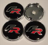 SEAT FR Kappen mitte Rad x 4 60mm Radlager Emblem Logo schwarz Leon Ibiza NEU