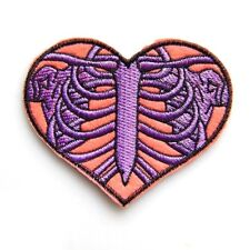 Ribcage Heart Iron On Patch Embroidered Goth Ribs Punk Applique Sew BNWT/NEW Gif