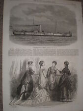 Netherlands Dutch navy war ship monitor Krokodil 1868 old print ref W1