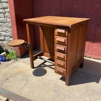 1930s Drafting Table W/ Swing Out Stool Industrial Desk Lab Office Farmhouse