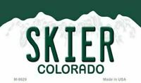 Skier Colorado State Background Novelty License Plate