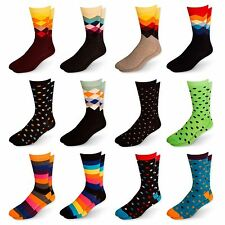 Men's Cotton Blend Socks Fun & Funky Patterns & Colors 12 Pack by Zeke