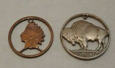 Lot of 2 - Cut Out Coins - Indian Head Cent & Buffalo Nickel - Holed For Jewelry