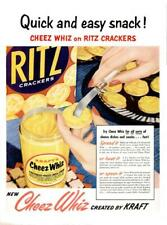 1954 Kraft Cheez Whiz PRINT AD With Nabisco Ritz Crackers Decor