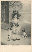 EARLY 1900's CW Faulkner VINTAGE CUTE YOUNG GIRL Puppies Kittens POSTCARD to NZ
