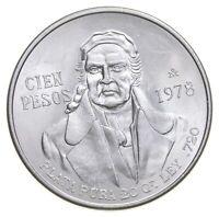 MEXICO 1978 100 PESOS SOLID SILVER COIN MORELOS LOW MINTAGE UNCIRCULATED