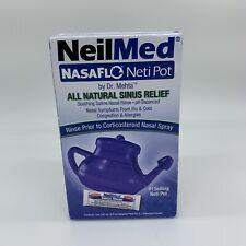 NeilMed NasaFlo Neti Pot All Natural Sinus Relief Blue 1 Premixed Packet