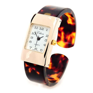Tortoise Gold Acrylic Band Small Size Women's Bangle Cuff Watch