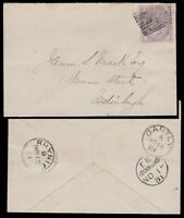 GB - 1881 QV SG170 1d lilac die 1 (14 dots in corners) used RHYNIE on cover