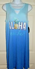 New Women's L (12-14) Aloha Beaches Chemise Nightgown Rayon Blue Ombre Pineapple