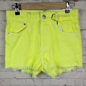 NWT Zara Size 4 Neon Mid Rise Frayed Hem Denim Shorts