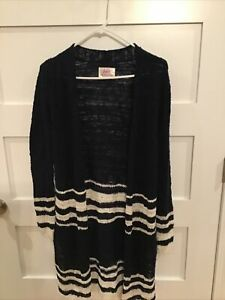 Justice Girls Size 16 Longer Sweater Navy Cream Sparkle New Cotton Blend
