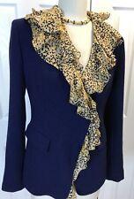 NWOT LAFAYETTE 148 Wool Jacket/Blazer Navy Blue With Animal Print Lining Sz 2 **