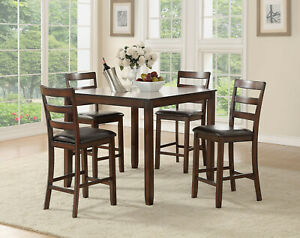 Rich Mahogany Finish Family Dining Room 5pc Set Counter height Table and Chairs