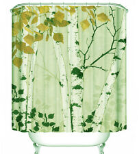 Birch Tree Fall Leaves Fabric Shower Curtain Autumn Forest Green Orange