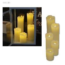 5er Set LED Stumpen Echt-Wachs Kerzen flammenlose flackernde Kerze Wax Candle