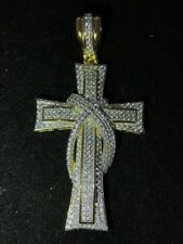 Sterling Silver 925 *14k Gold Plated* Mens Cross Pendant W. 2.6ct Lab Diamonds