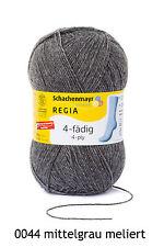 100g Sockenwolle Regia 4-fach Uni - Mittelgrau Meliert Fb. 0044