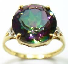 FAB 10KT YELLOW GOLD ROUND 10MM MYSTIC TOPAZ & DIAMOND RING  SIZE 7   R1424