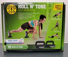 Golds Gym Roll N Tone A Total 3 In 1 Workout Ab Wheel Glide Discs Push Up Stands