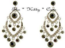 Debenhams Chic Silver Black Ethnic Chandelier Drop Earrings W/ Swarovski Crystal