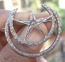 Victorian 1.72ct Rose Cut Diamond Star Half Crescent Moon Good Looking Brooch