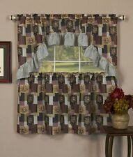 PATCHES TIER & SWAG SET Kitchen Curtain,country floral patchwork with ruffle
