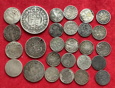 More details for pre 1920 british .925 silver coins, 62 grms  half crown, shillings, 6d, 4d & 3d