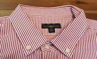 Club Room XL Mens Dress Shirt Red/White Stripes Long Sleeve