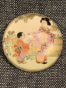 Japanese Satsuma Porcelain And Silver Button