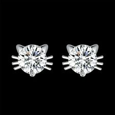 Fashion 925 Silver plated Jewelry Crystal Cat Stud Earrings For Women E942