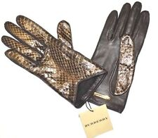 New~Burberry Silk Lined Snakeskin Black Gold Leather Women Gloves Size 7