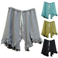 Plus Size Women Elastic Waist Lace Up Ruffle Hot Pants Summer Loose Shorts Beach