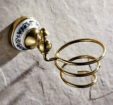 Bathroom Accessories Gold Color Brass Wall Mount Hair Dryer Holder Rack zba258