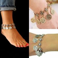 New Women Fashion Jewelry Boot Bracelet Silver Metal Chain Coins Anklet Charm