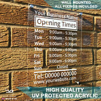 Wall Mounted Custom Personalised Acrylic Perspex Shop Opening Hours Times Sign