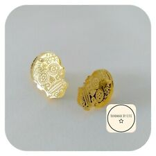 Mirror Sugar Skull Stud Earrings ⭐ 25mm ✨Small ☠️ gold Halloween
