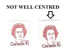 Canada Stamp #605 A292A Queen Elizabeth II (1976) 10c miscut misaligned