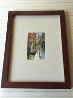 "Di Rey Original Watercolor Venetian Landscape, Signed, Framed, 4"" x 6 3/4"" Image"