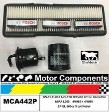 SPARK PLUG & FILTER SERVICE KIT for DAIHATSU MIRA L200  EF-EL 660cc 1992 > 95
